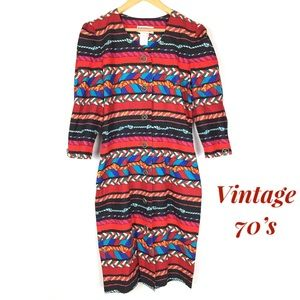 Vintage 70's western bohemian statement midi dress